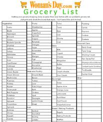 grocery checklist grocery list