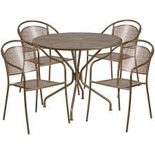 35 25 round gold indoor outdoor steel patio table set with 4 round back chairs