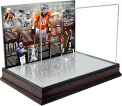 peyton manning denver broncos becomes nfl all time touchdown passing record leader mahogany base football display case with timeline back