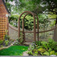 Beautiful Curved Brown and Adobe PVC VInyl Picket Fence Modern