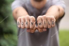 Muž Pěsti S Falešné Tetování Stock Fotografie Belchonock 116435228