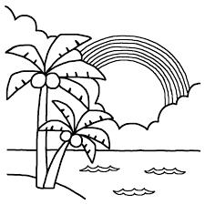 ヤシの木と虹白黒海の無料イラスト夏の季節素材