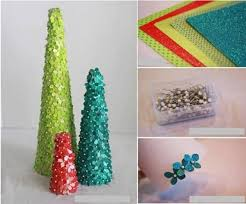 Paper Flower Christmas Tree Desktop Christmas Tree Topiaries Styrofoam