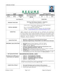 Ndt Level 2 Sample Resume Ndt Level Ii Ut Technician Resume Cv Format Sample Sevte 1
