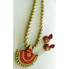 traditional terracotta jewellery set with stud jhumka ai