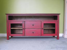 red tv stand  wooden  long tv console  cottage