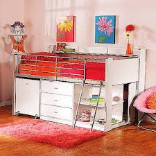 girls twin loft bed with desk and storage