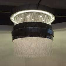 china banquet hall fabric pendants covered alu mesh with crystal beads chandelier china pendant light pendant lamp