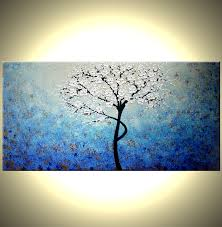 large original abstract tree painting textured cherry blossom tree abstract metallic gold bronze