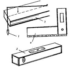 Каменные и кирпичные работы инструменты каменщика Инструкции Стены Рисунок Контрольный инструмент 1 отвес 2 уровень 3 порядовка 4 угольник