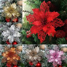 <b>5PCS Artificial</b> Christmas Flowers <b>Glitter Fake</b> Flower Christmas ...