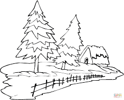 Small Picture Two Pine Trees and a House coloring page Free Printable Coloring