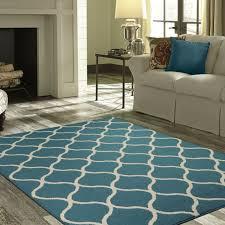 modern teal area rug 5 x 7 olefin yarn lattice abstract living room decor for