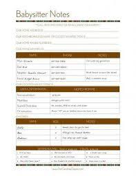Babysitter Information Sheets Babysitting Information Sheets Home Management Binder Completed