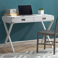minimalist white writing desk with drawers