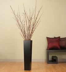 Tall Black Floor Vase, Red Dogwood & Pussy Willow Branches by Green