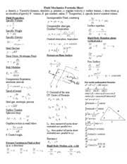fluid dynamics equation sheet. me 367 formula sheet - fluid mechanics density viscosity( dynamic absolute p pressure angular velocity surface tension shear stress g dynamics equation o