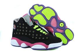 jordan shoes for girls black and pink. girls air jordan 13 retro black pink venom green for sale shoes and