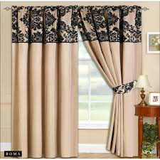 90 x90 half flock pencil pleat luxurious pair of curtains with matching tie backs cream black 90x90 co uk kitchen home