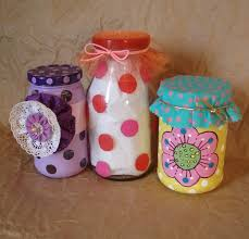 adding embellishments to painted jars