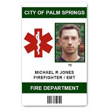 Emt Card Department Id Fire Pvc