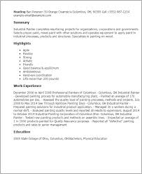 Sample Painter Resume Professional Painter Resume Samples Resume Templates Auto Body