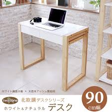 Wooden desks Scandinavian-style modern natural compact 90 cm width laptop  drawer work table as ...