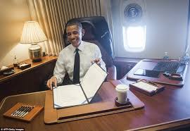 air force one office. Obama In His \u0027Oval Office\u0027 Aboard Air Force One; Here He Is Pictured One Office L