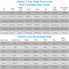 Adidas Y3 Size Chart