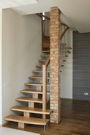 Trendy Oak Woden Steps As Simple Modern Stairs Also Brick Interior Column  On Woodeen Floors As Minimalist Interior House Designs