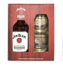jim beam bourbon cky gft pk w 2 rock gles 750ml rl15024