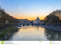 Vue De Coucher Du Soleil De Létat De La Cité Du Vatican à Rome
