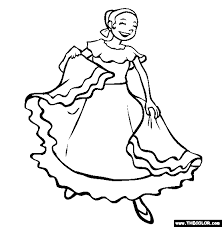Spanish Dancing Mexican Dance Online Coloring Page
