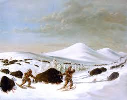buffalo hunt in winter george catlin oil painting