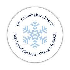 Round Return Address Labels Snowflake Center