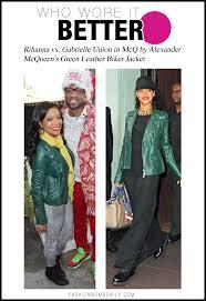 gabrielle union in mcq by alexander mcqueen s green leather biker jacket