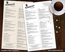 Word Restaurant Menu Templates Food Menu Templates Printable Restaurant Menu Template Wedding
