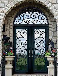 custom front door design decorative rod iron and glass