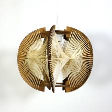 mid century pendant lamp in wire and wood 1960s previous next