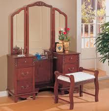 Oak Bedroom Vanity Coaster Cherry Brown Finish Wood Large Dressing Makeup Bedroom