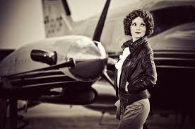vintage leather jacket on female pilot