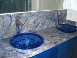 azul bahia granite with blue glass vessel sinks blue cobalt blue granite countertops