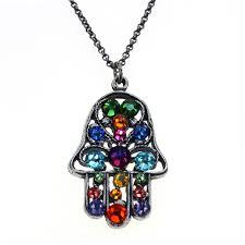 silver tone brass with multicolor swarovski crystal hamsa necklace fire ice