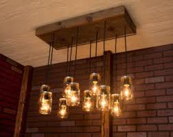 Image Mason Rustic Modern Farmhouse Pendant Lighting Chandelier Light Fixture Mason Jar Lights Reclaimed Wood And 10 Pendants R1434cmj10 Etsy Mason Jar Lighting Etsy