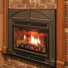 gas fireplace insert in showroom
