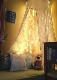 make your own lighting. DIY Toddler Reading Nook -White Christmas Lights, Old Crib Mattress, Cotton Fabric To Make Your Own Pillow Cases, IKEA Throw Pillows, Gauze Canopy From Lighting R