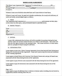 Lease Contract Templates Delectable 44 Sample Horse Lease Agreements Sample Templates