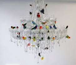 classic crystal chandelier filled with flock of colorful birds regarding awesome household colored chandelier crystals prepare
