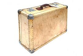 vintage luggage. small vintage vellum leather parchment suitcase luggage