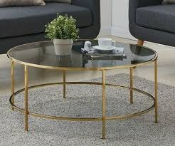 round coffee table gold with smoked